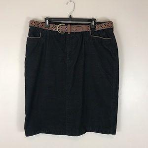 Columbia sportswear 18w Plus Black corduroy skirt